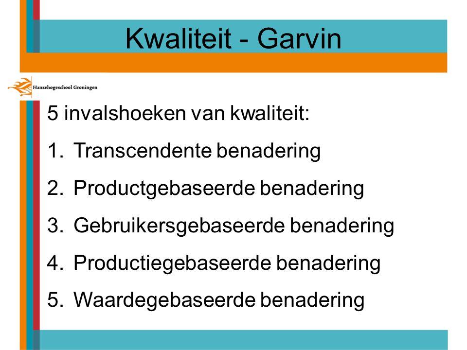 Kwaliteit - Garvin 5 invalshoeken van kwaliteit: