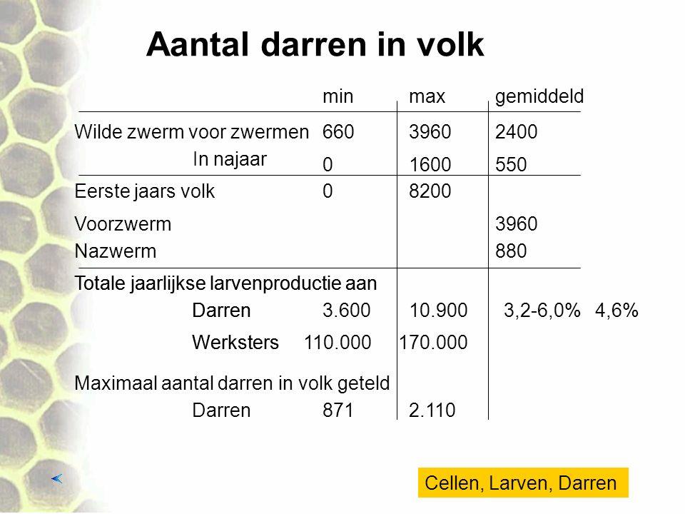 Aantal darren in volk min max gemiddeld Wilde zwerm voor zwermen 660