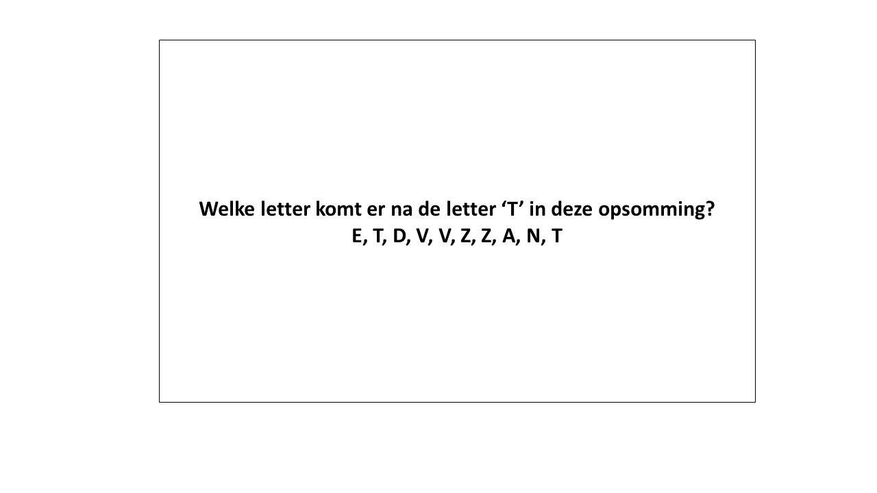 Welke letter komt er na de letter 'T' in deze opsomming