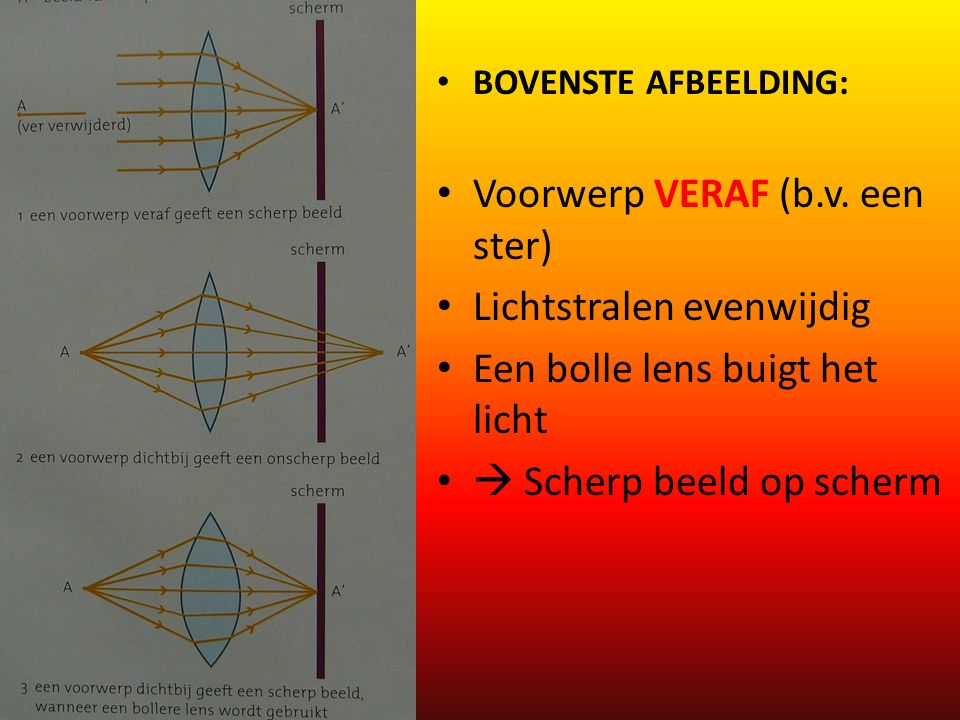 Voorwerp VERAF (b.v. een ster) Lichtstralen evenwijdig