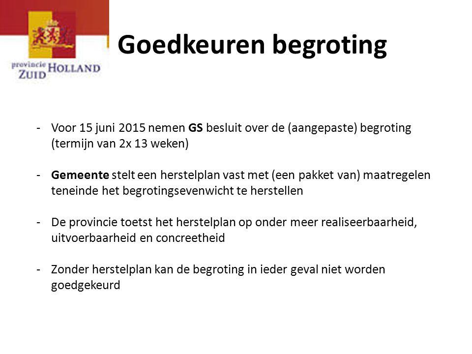 Goedkeuren begroting Voor 15 juni 2015 nemen GS besluit over de (aangepaste) begroting (termijn van 2x 13 weken)