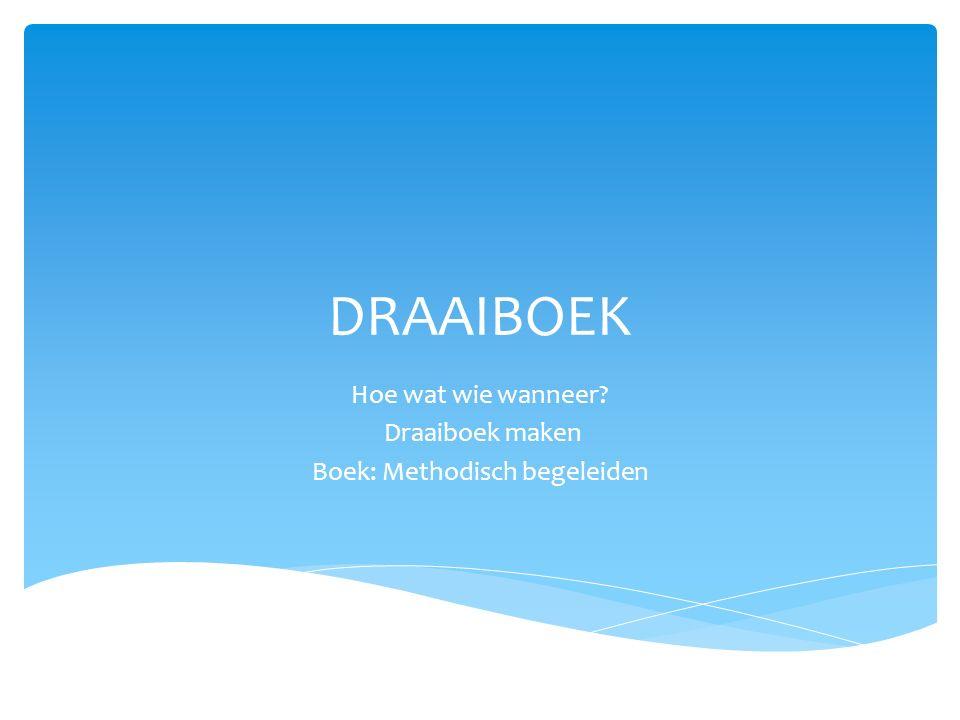 Hoe wat wie wanneer Draaiboek maken Boek: Methodisch begeleiden