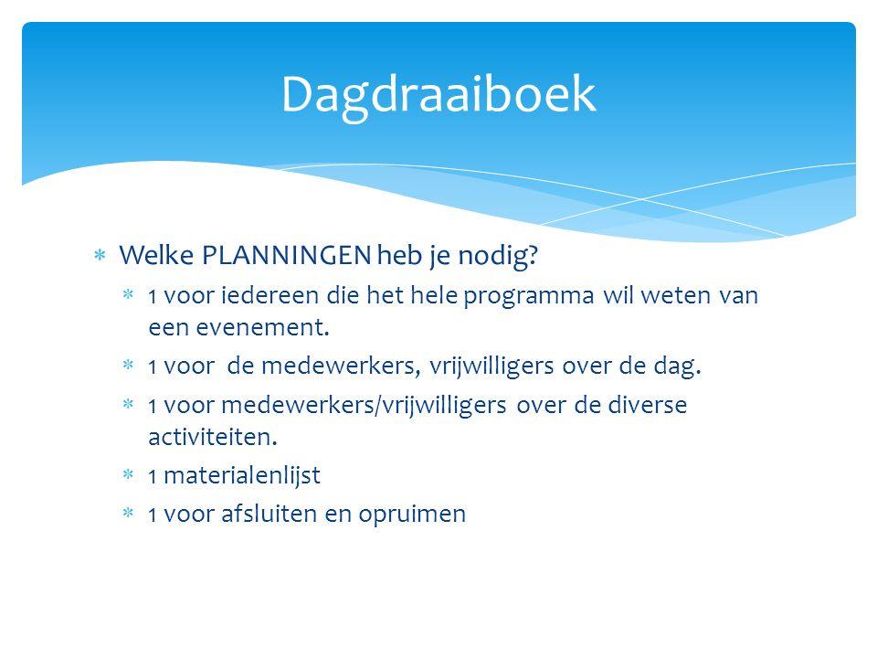 Dagdraaiboek Welke PLANNINGEN heb je nodig
