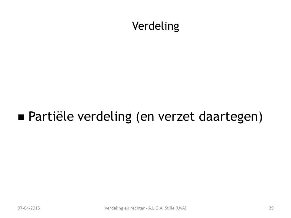 Verdeling en rechter - A.L.G.A. Stille (UvA)