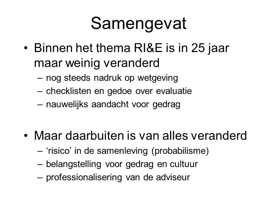 Samengevat Binnen het thema RI&E is in 25 jaar maar weinig veranderd