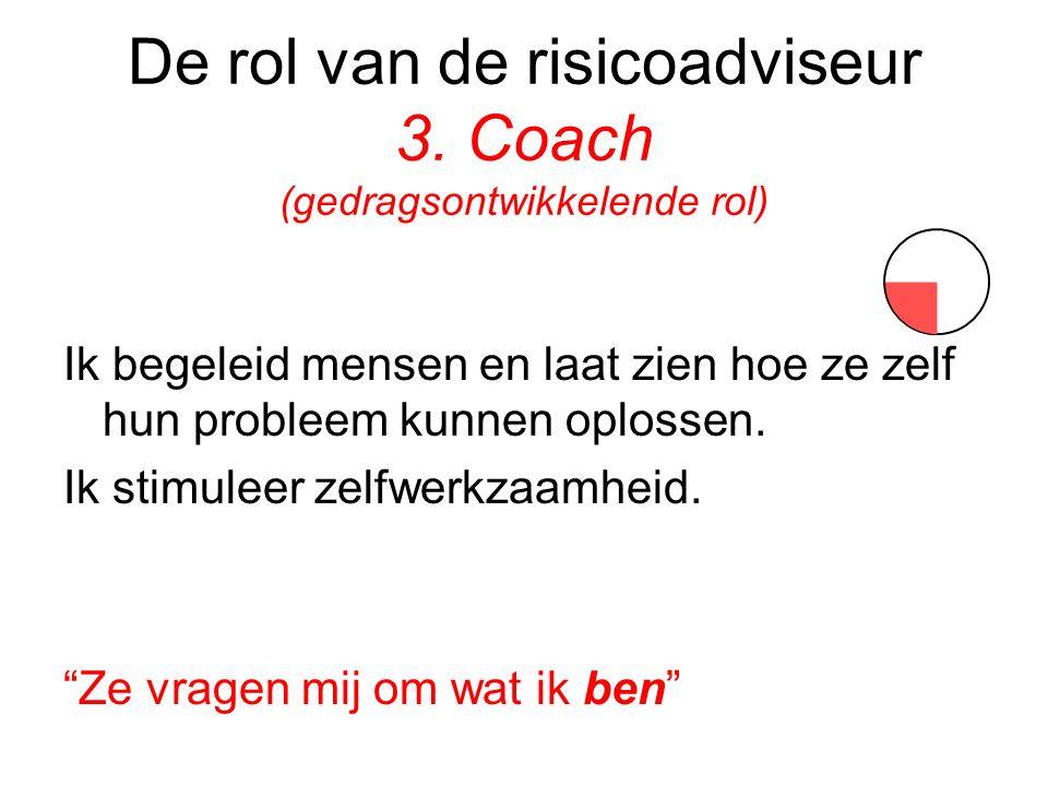De rol van de risicoadviseur 3. Coach (gedragsontwikkelende rol)