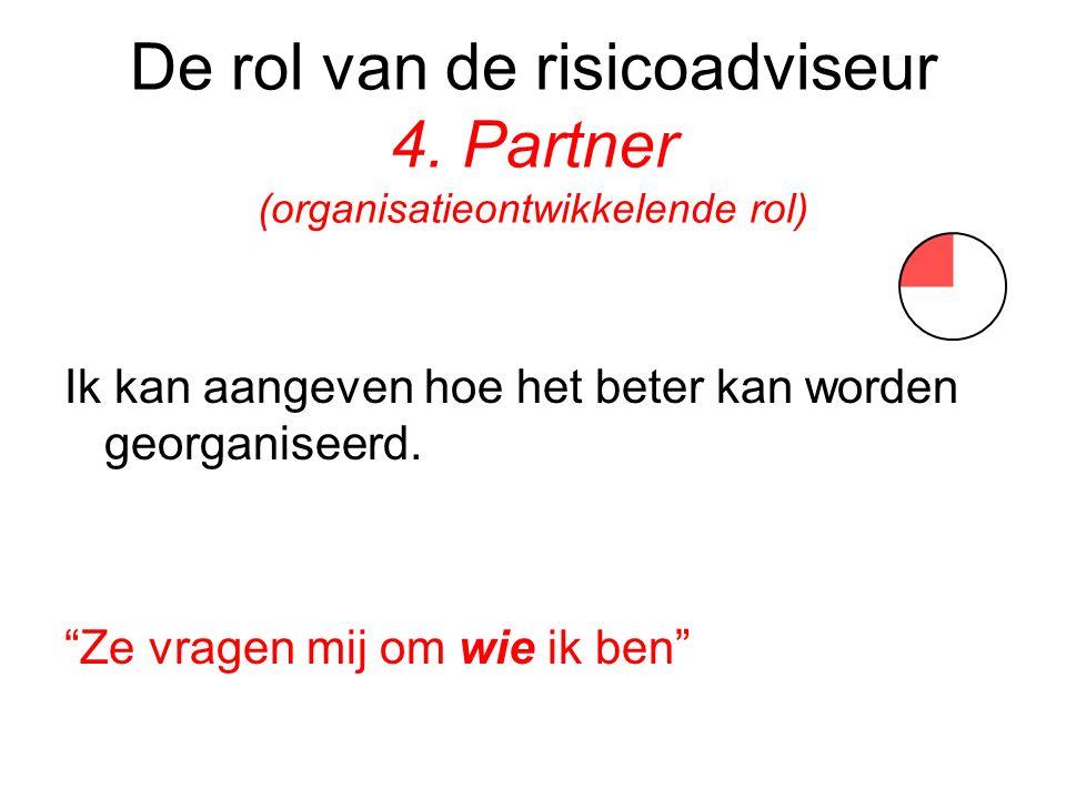 De rol van de risicoadviseur 4. Partner (organisatieontwikkelende rol)