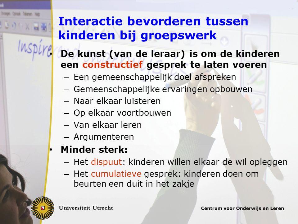 Interactie bevorderen tussen kinderen bij groepswerk