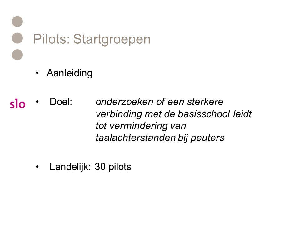 Pilots: Startgroepen Aanleiding