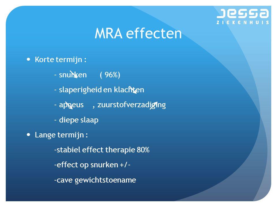 MRA effecten Korte termijn : - snurken ( 96%)