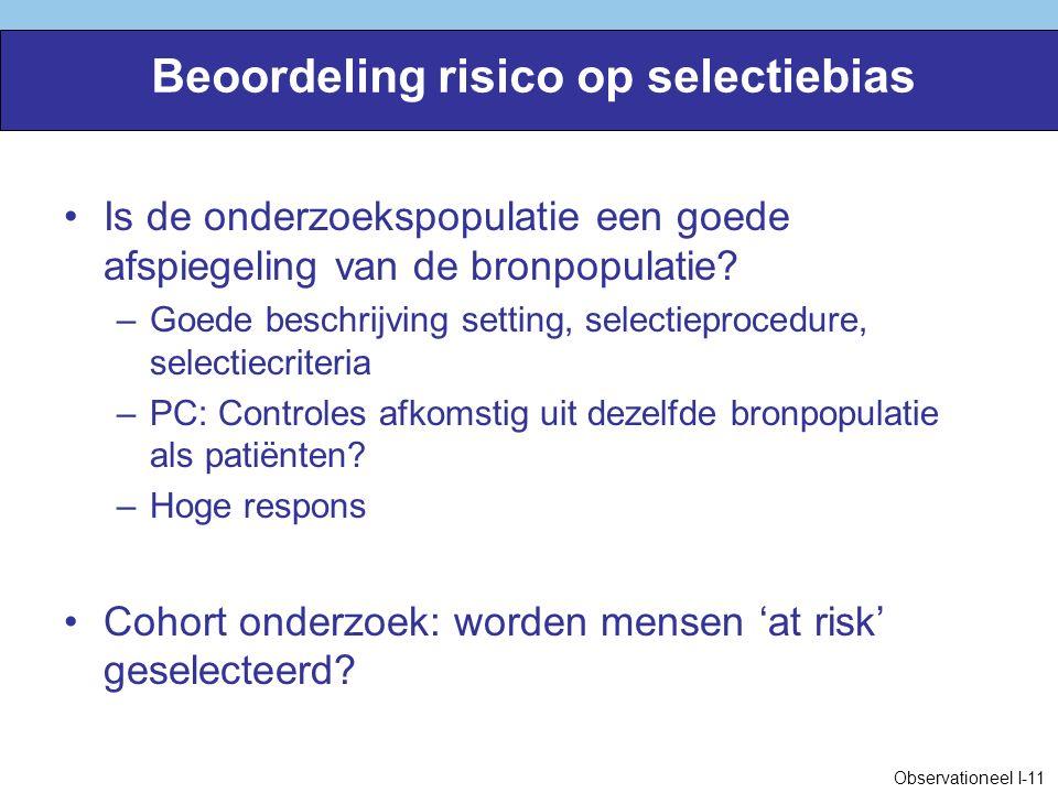 Beoordeling risico op selectiebias