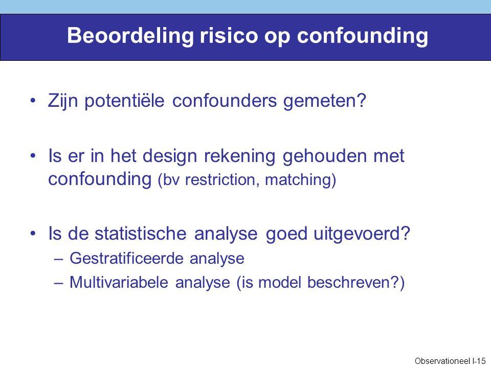 Beoordeling risico op confounding