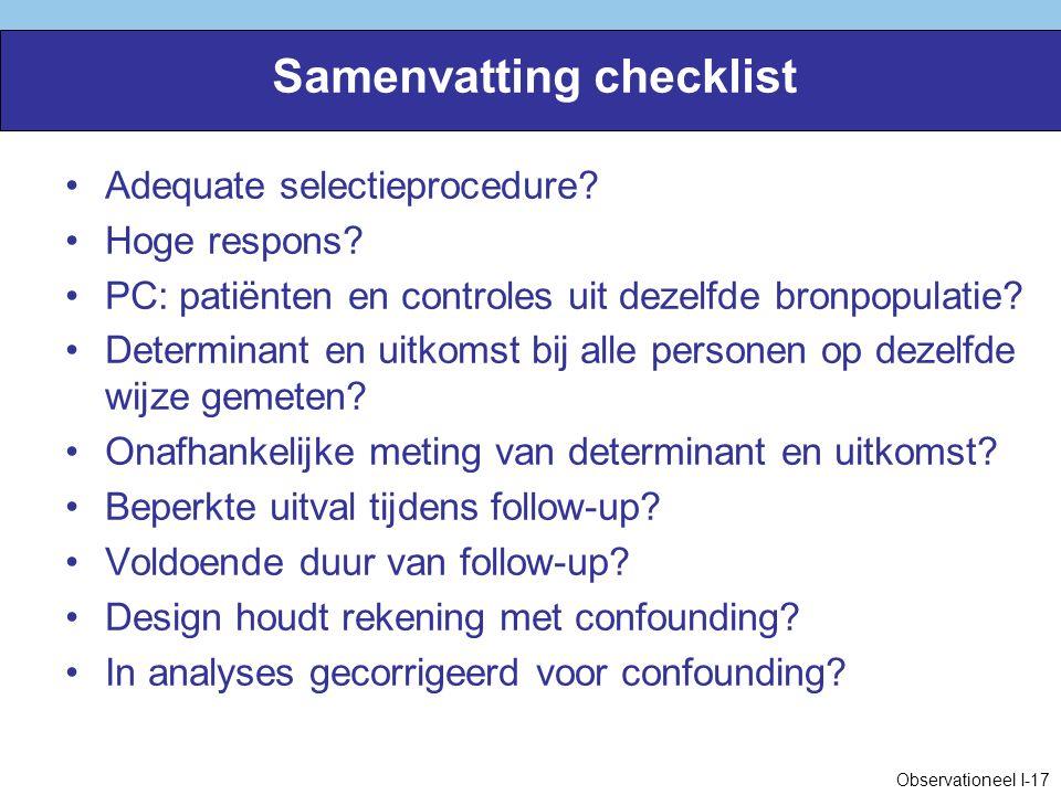 Samenvatting checklist