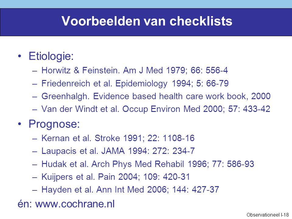 Voorbeelden van checklists