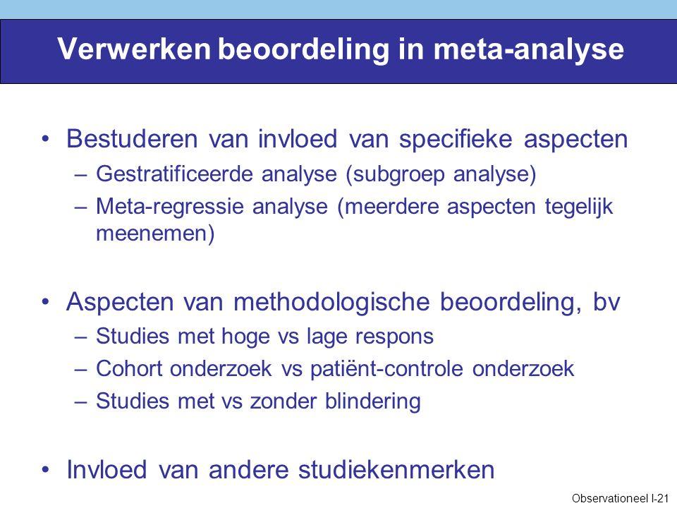 Verwerken beoordeling in meta-analyse