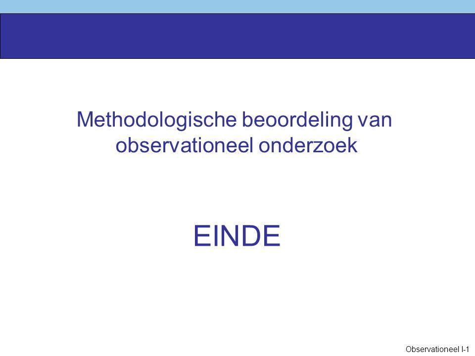 EINDE Methodologische beoordeling van observationeel onderzoek
