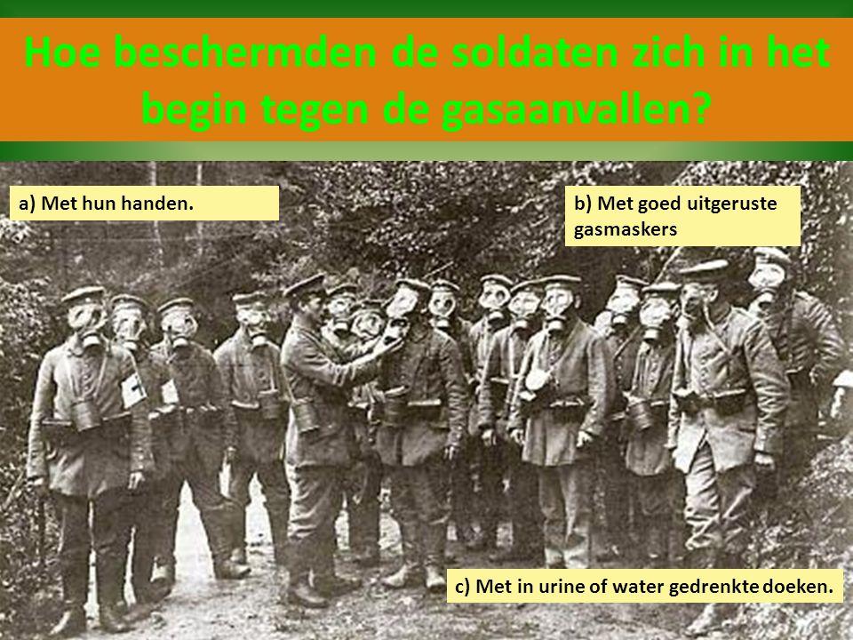 Hoe beschermden de soldaten zich in het begin tegen de gasaanvallen