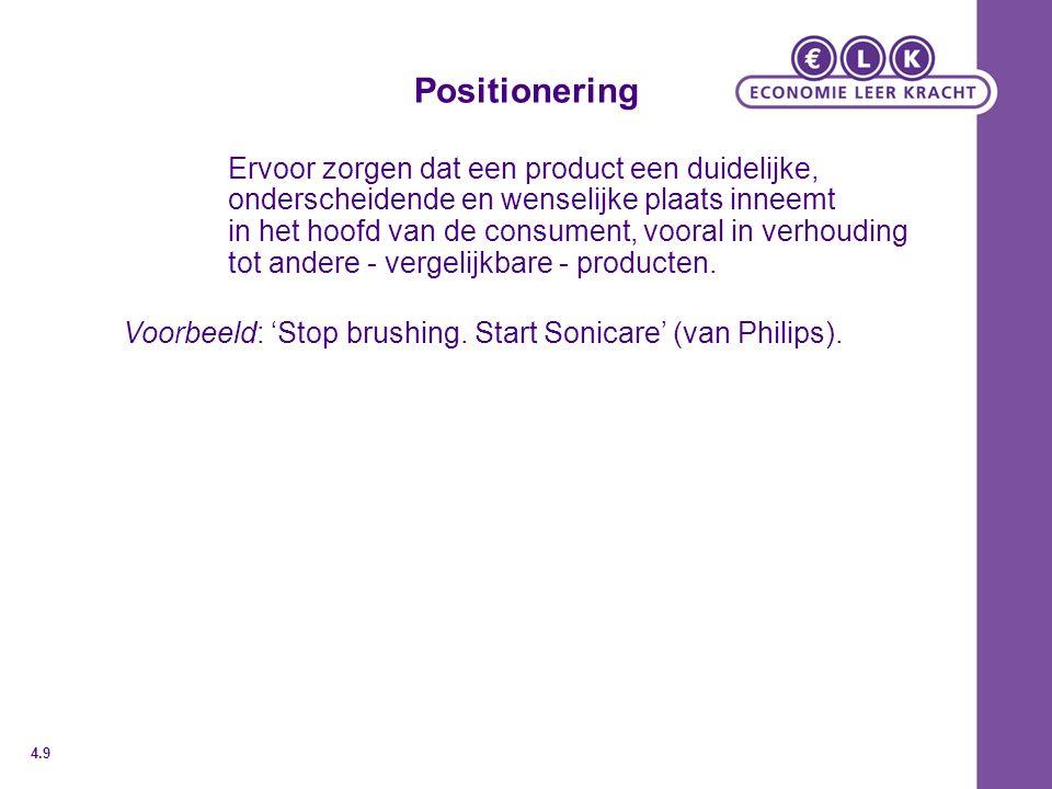Positionering Ervoor zorgen dat een product een duidelijke,