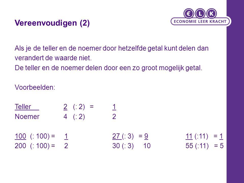 Vereenvoudigen (2) Als je de teller en de noemer door hetzelfde getal kunt delen dan. verandert de waarde niet.