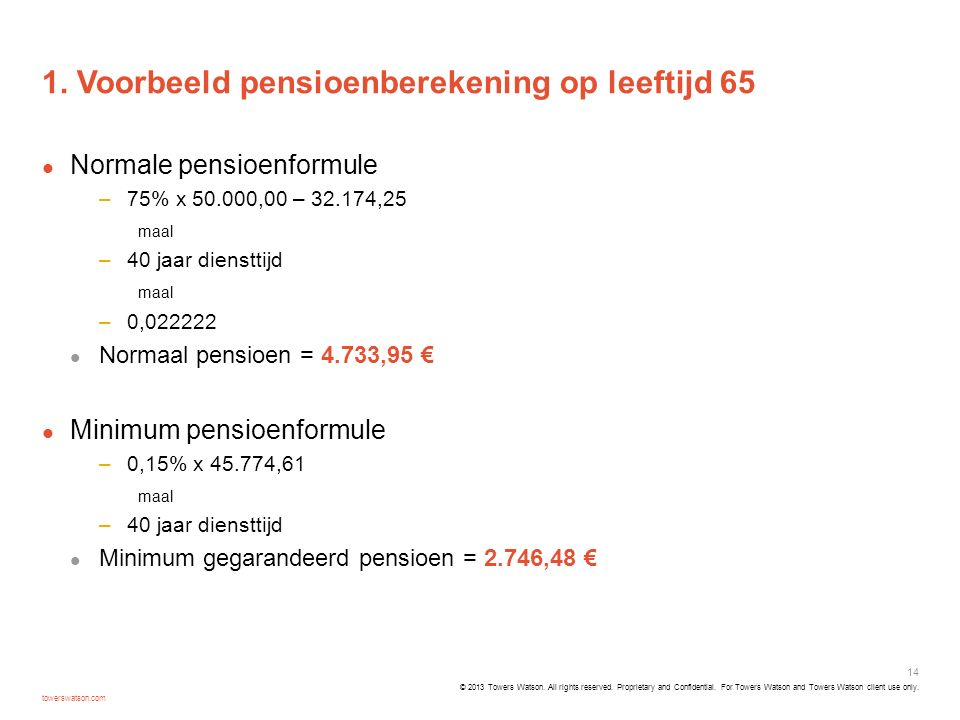 1. Voorbeeld pensioenberekening op leeftijd 65