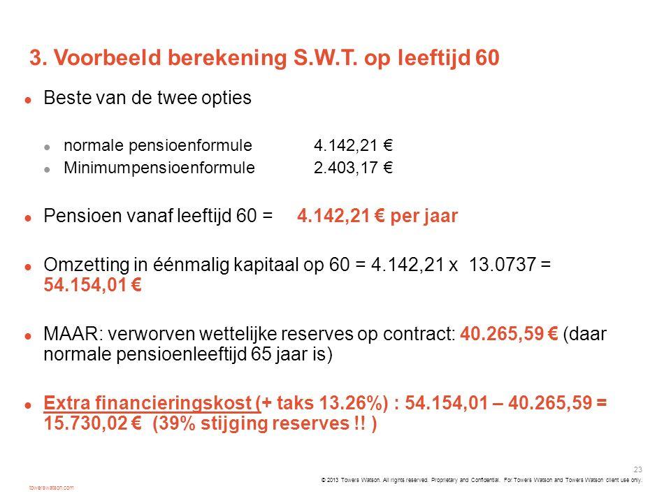 3. Voorbeeld berekening S.W.T. op leeftijd 60
