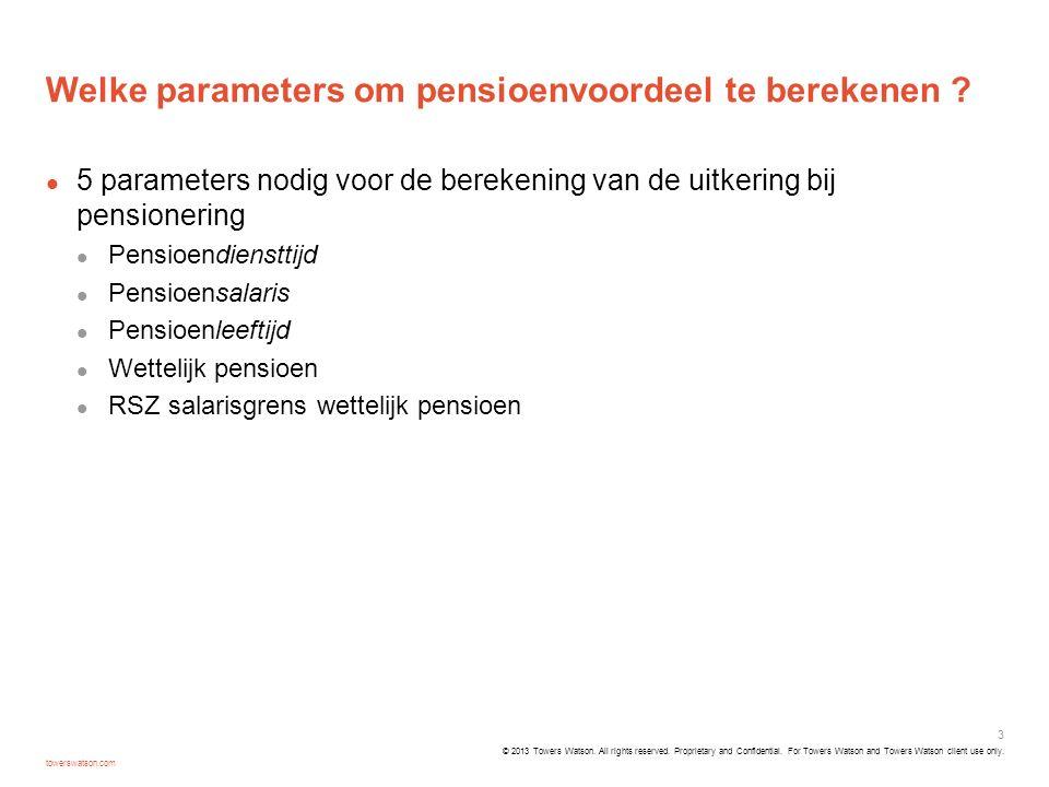 Welke parameters om pensioenvoordeel te berekenen