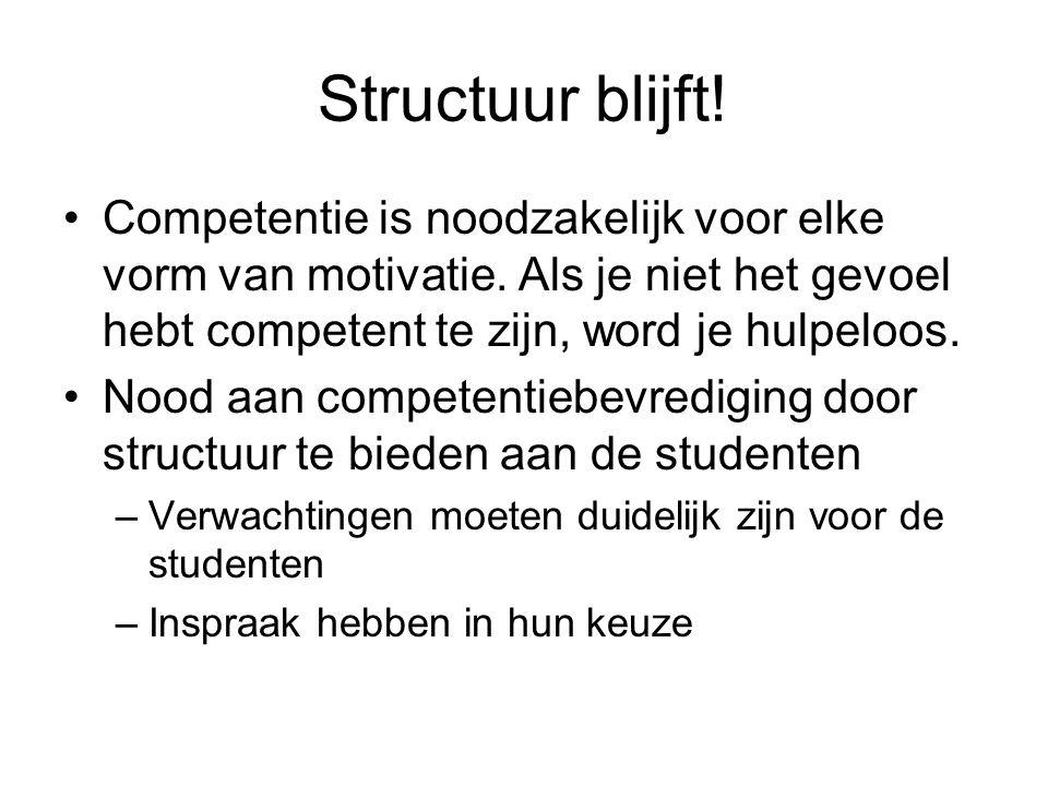 Structuur blijft! Competentie is noodzakelijk voor elke vorm van motivatie. Als je niet het gevoel hebt competent te zijn, word je hulpeloos.