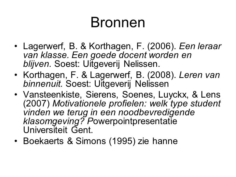 Bronnen Lagerwerf, B. & Korthagen, F. (2006). Een leraar van klasse. Een goede docent worden en blijven. Soest: Uitgeverij Nelissen.