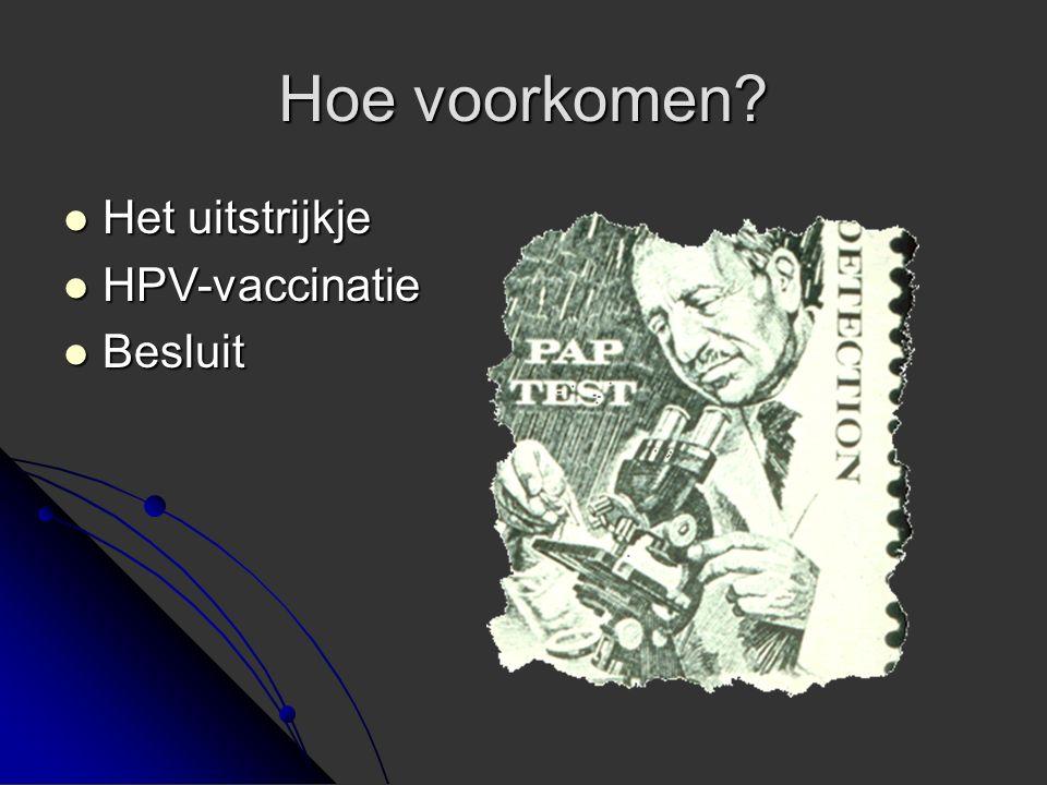 Hoe voorkomen Het uitstrijkje HPV-vaccinatie Besluit