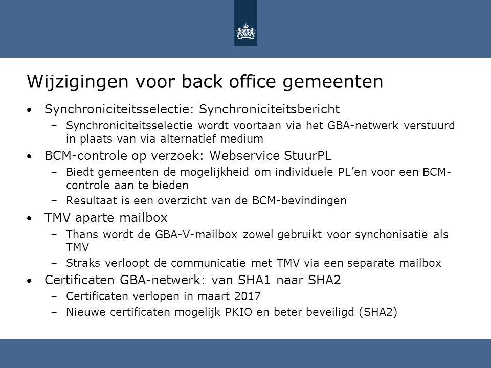 Wijzigingen voor back office gemeenten