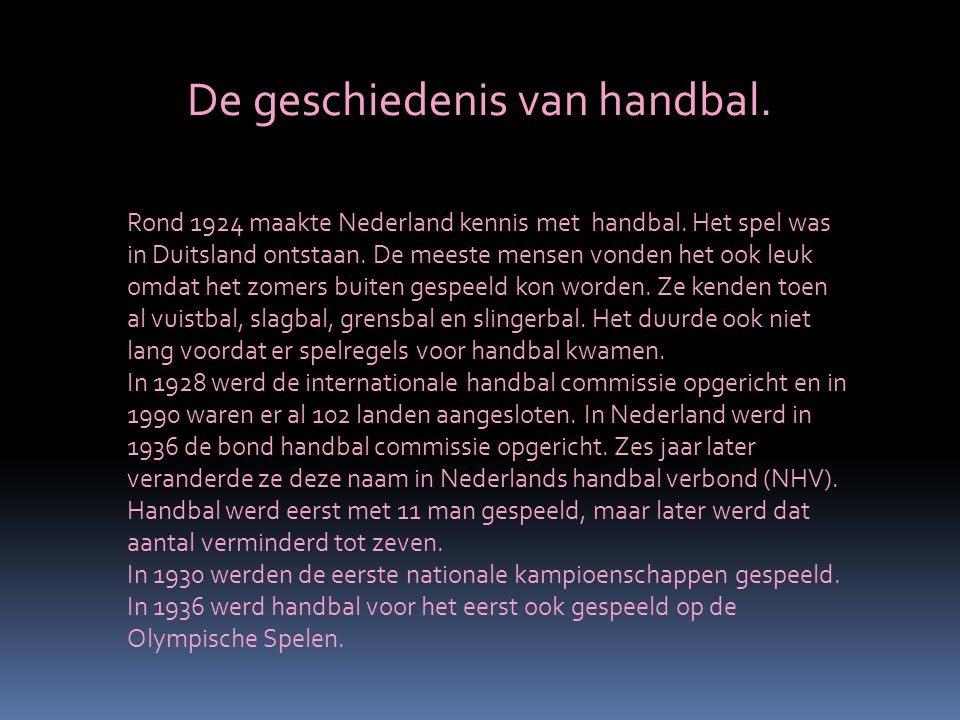 De geschiedenis van handbal.