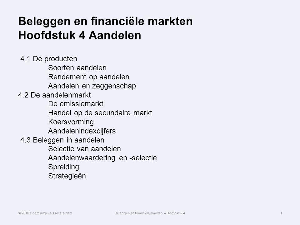 Beleggen en financiële markten Hoofdstuk 4 Aandelen