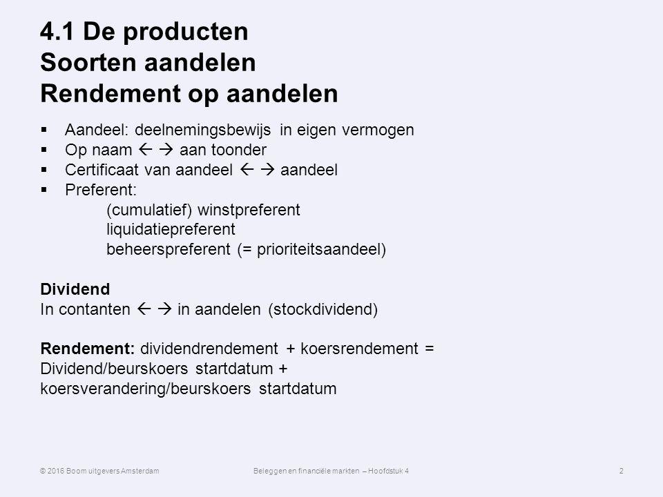 4.1 De producten Soorten aandelen Rendement op aandelen
