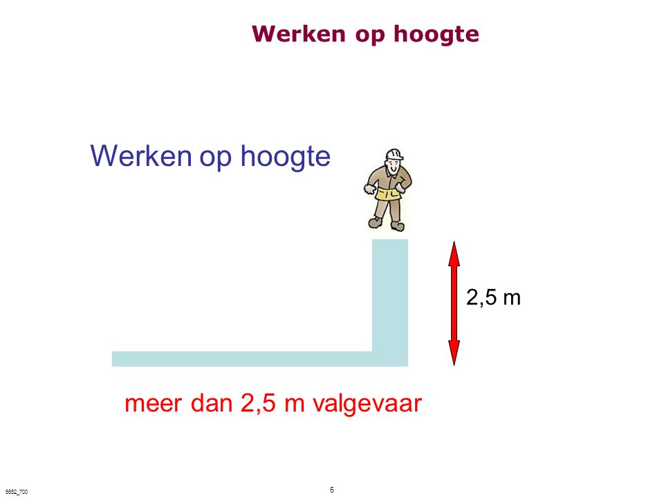 Werken op hoogte meer dan 2,5 m valgevaar Werken op hoogte 2,5 m 5