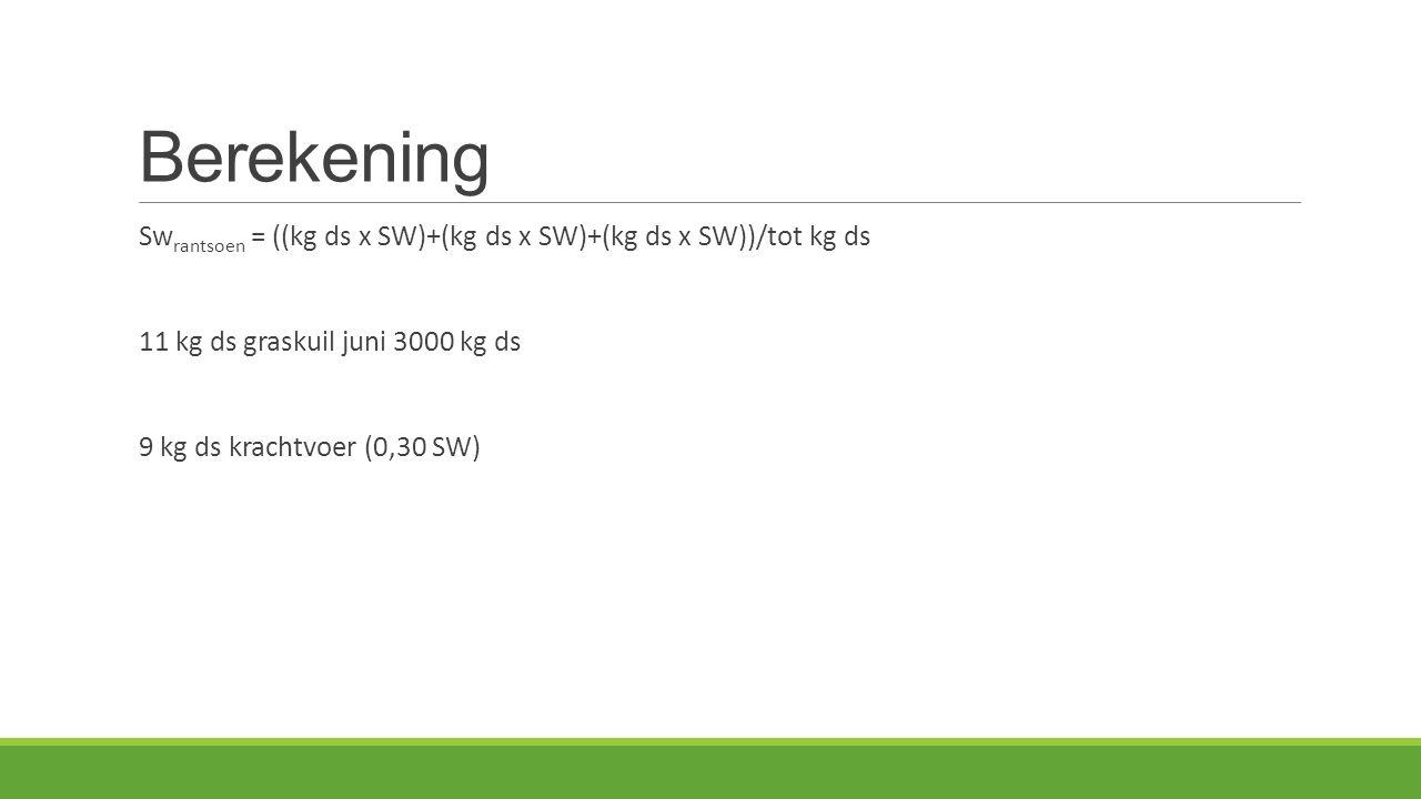 Berekening Swrantsoen = ((kg ds x SW)+(kg ds x SW)+(kg ds x SW))/tot kg ds. 11 kg ds graskuil juni 3000 kg ds.