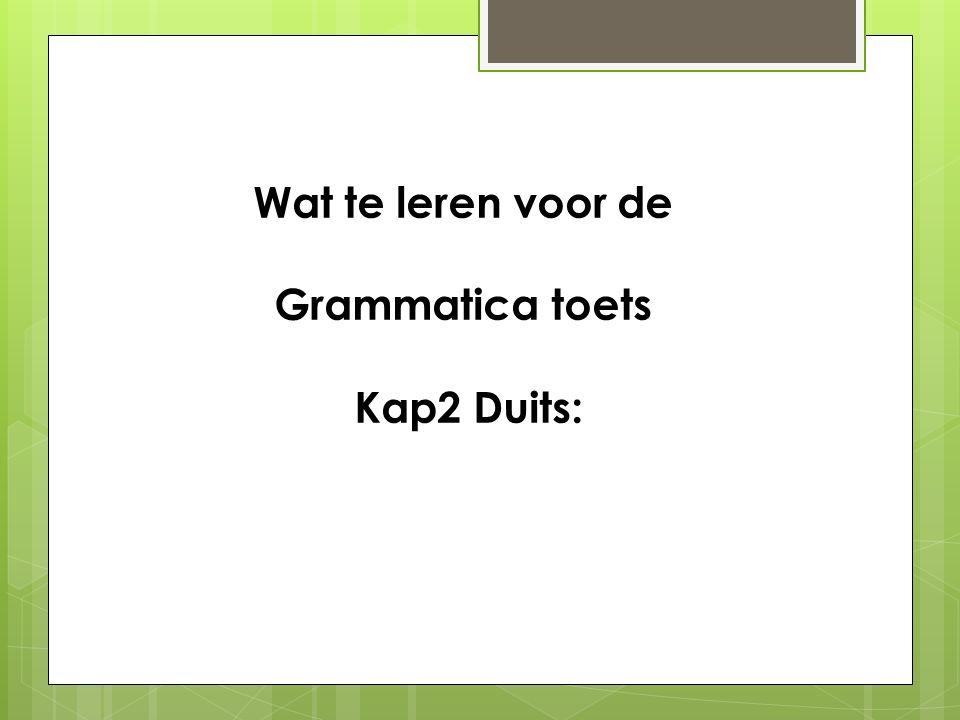 Wat te leren voor de Grammatica toets Kap2 Duits: