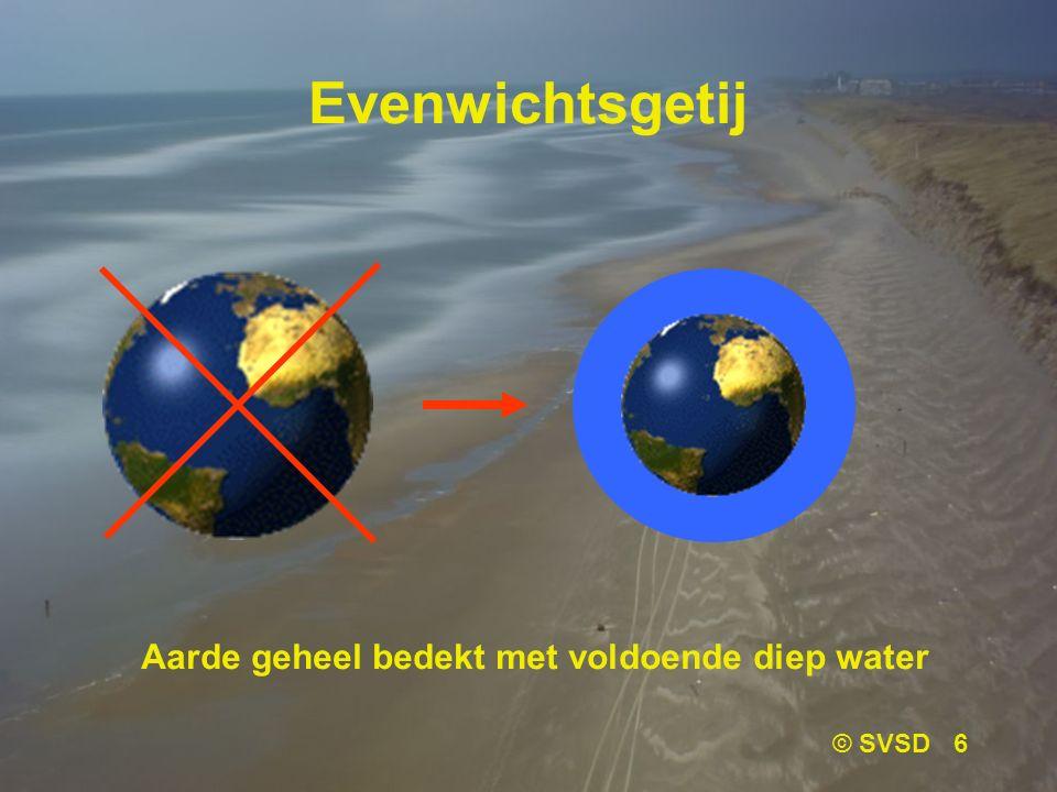 Evenwichtsgetij Aarde geheel bedekt met voldoende diep water