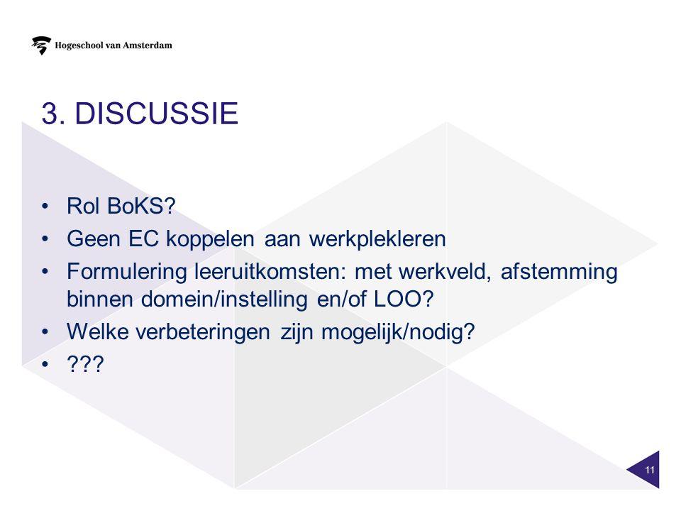3. Discussie Rol BoKS Geen EC koppelen aan werkplekleren