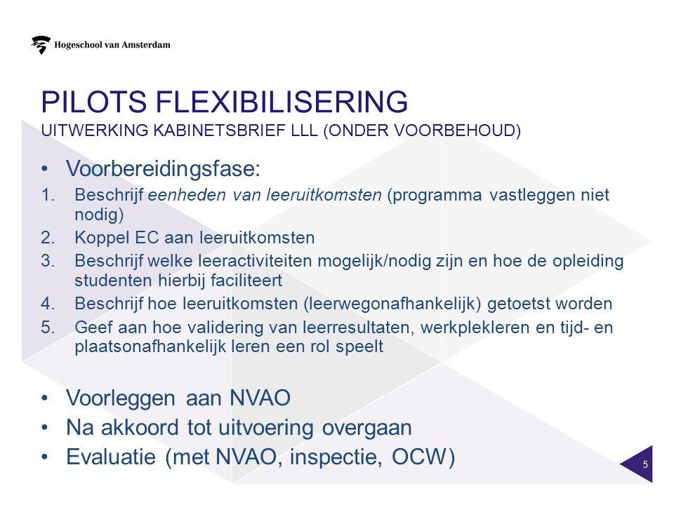 Pilots flexibilisering uitwerking kabinetsbrief LLL (onder voorbehoud)