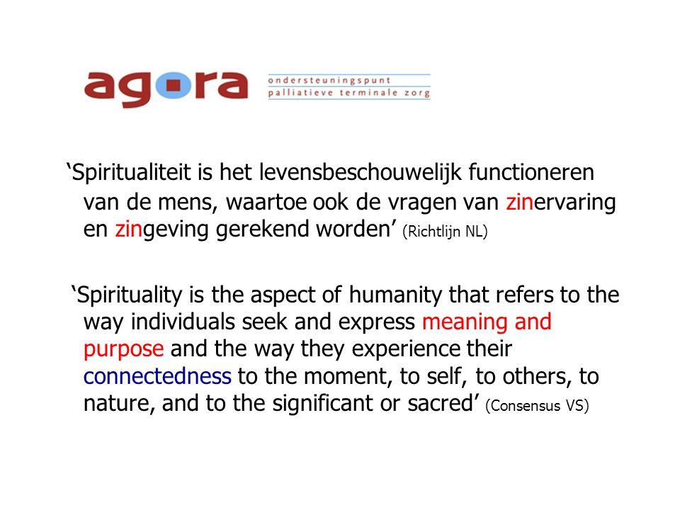 'Spiritualiteit is het levensbeschouwelijk functioneren van de mens, waartoe ook de vragen van zinervaring en zingeving gerekend worden' (Richtlijn NL)