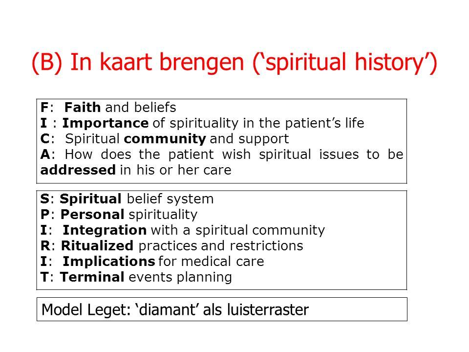 (B) In kaart brengen ('spiritual history')