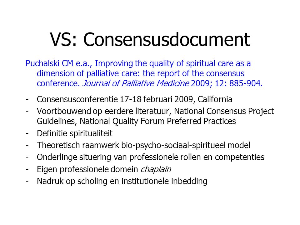 VS: Consensusdocument