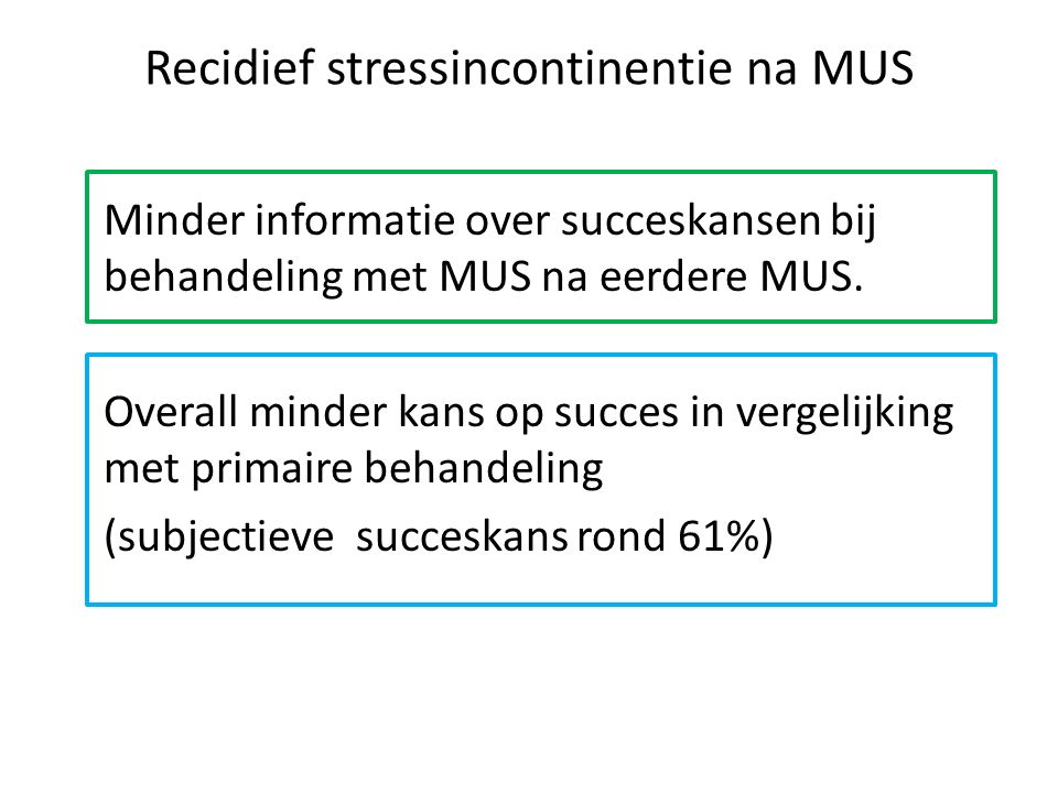 Recidief stressincontinentie na MUS
