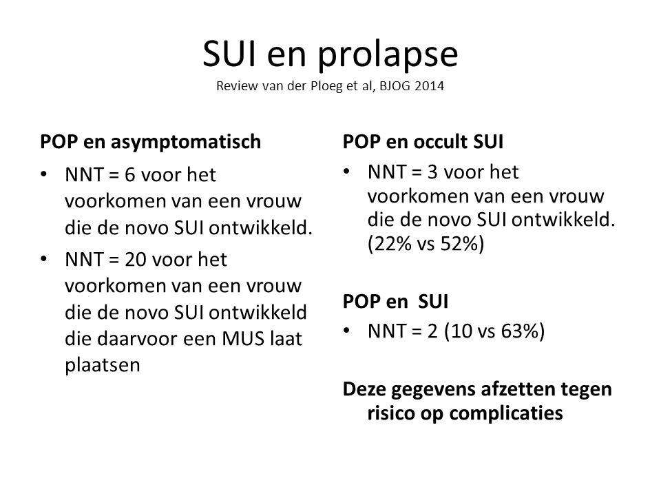 SUI en prolapse Review van der Ploeg et al, BJOG 2014