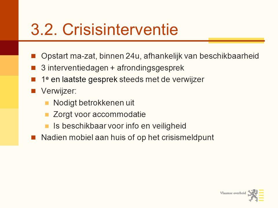 3.2. Crisisinterventie Opstart ma-zat, binnen 24u, afhankelijk van beschikbaarheid. 3 interventiedagen + afrondingsgesprek.