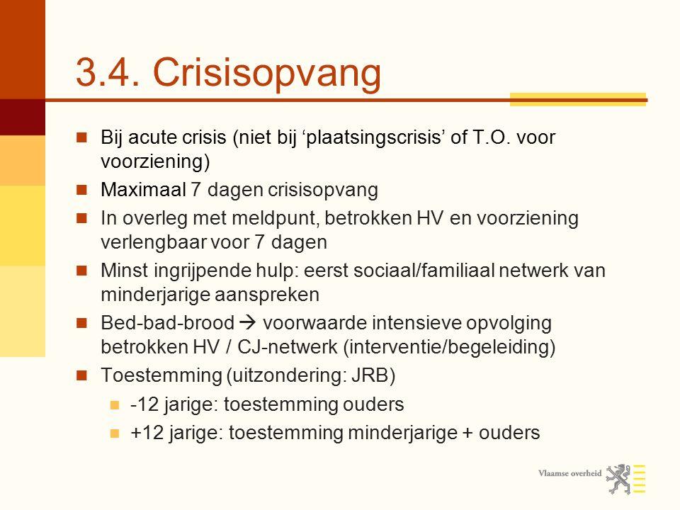3.4. Crisisopvang Bij acute crisis (niet bij 'plaatsingscrisis' of T.O. voor voorziening) Maximaal 7 dagen crisisopvang.