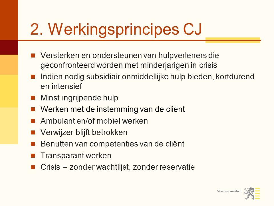 2. Werkingsprincipes CJ Versterken en ondersteunen van hulpverleners die geconfronteerd worden met minderjarigen in crisis.