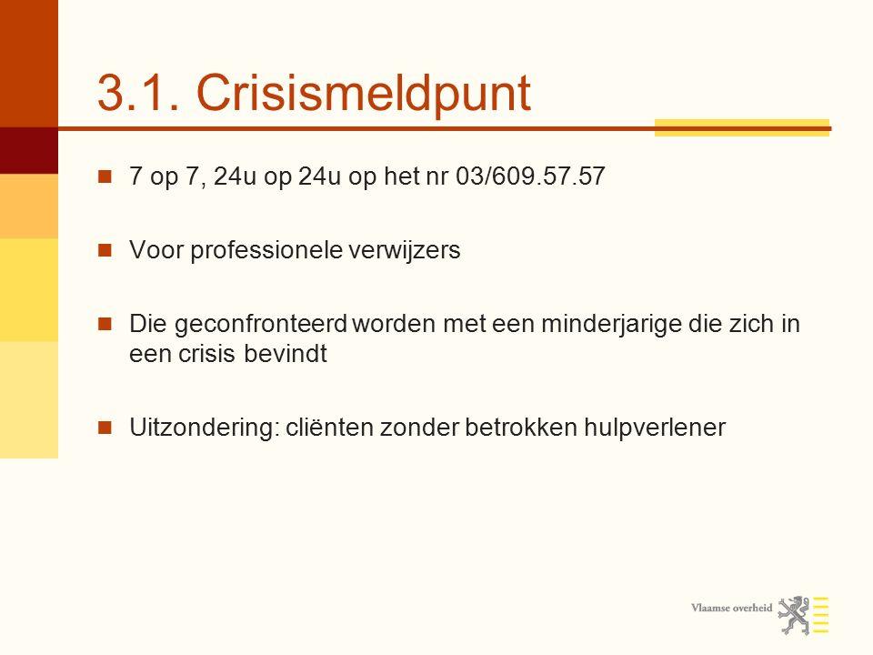 3.1. Crisismeldpunt 7 op 7, 24u op 24u op het nr 03/609.57.57