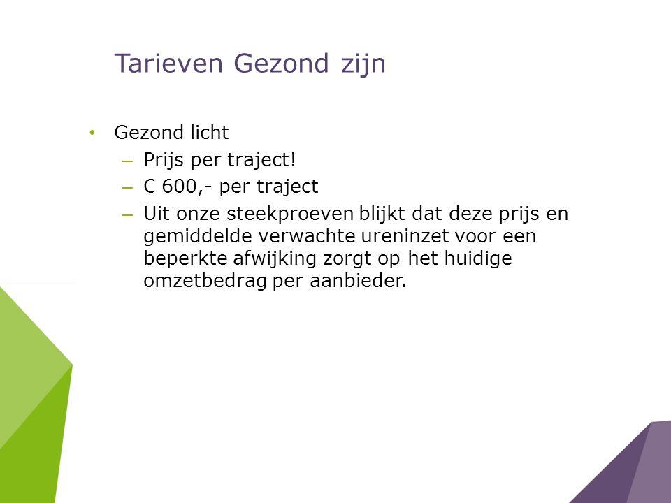 Tarieven Gezond zijn Gezond licht Prijs per traject!