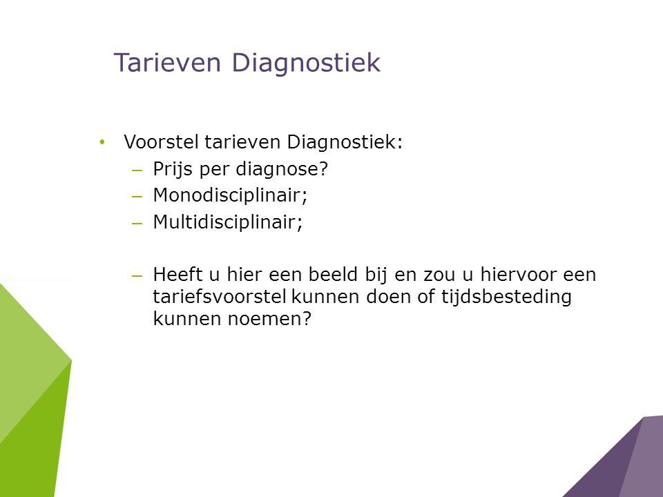 Tarieven Diagnostiek Voorstel tarieven Diagnostiek: